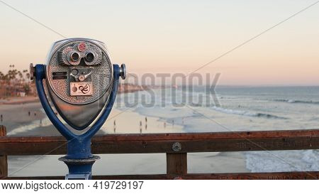 Metallic Stationary Observation Tower Viewer, Waterfront Old Binoculars, Oceanside Pier, California