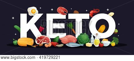 Keto Diet Logo Letters And Realistic Healthy Food On Black Background Vector Illustration