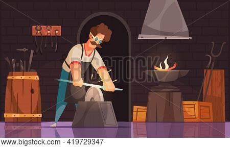 Blacksmith In Workshop Sharpens Forged Sword Blade On Grind Stone Wearing Safety Goggles Cartoon Com