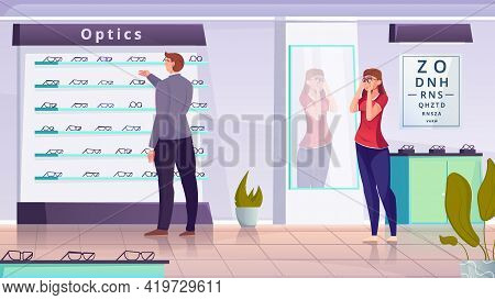A Man And A Woman Selecting A Frame For Optics Flat Vector Illustration