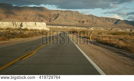 Road Trip, Driving Auto From Death Valley To Las Vegas, Nevada Usa. Hitchhiking Traveling In America