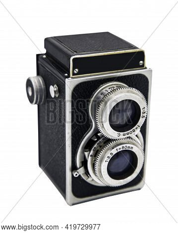 Bangkok, Thailand - 05 May 2021 :  Vintage Twin Lens Reflex Photo Camera. Old Two Lens Medium Format