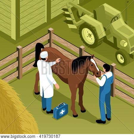 Veterinary Ranch Visit Isometric Composition Farm Vet Examines Standing In Pen Horse Tractor On Back