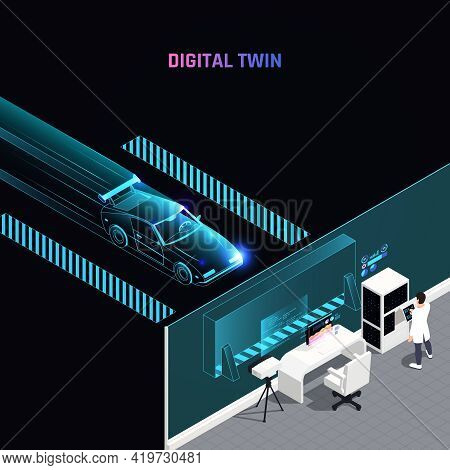 Digital Twin Technology Racing Car Simulation Test Maximizes Performance Analyzing Aerodynamics Stra