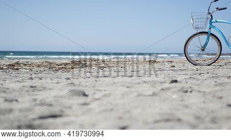 Blue Bicycle, Cruiser Bike By Ocean Beach Pacific Coast, Oceanside California Usa. Summertime Vacati
