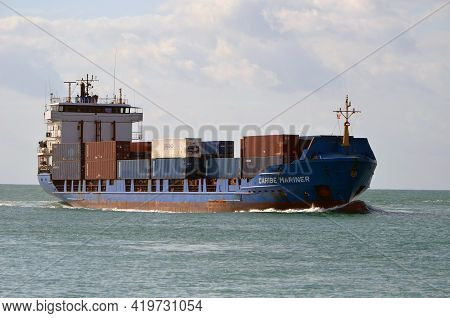 Miami,florida,u.s.a. 28 April 2021, Containership Approaching The Port Of Miami.