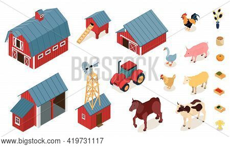 Farm Elements Isometric Set With Chicken Laying House Stall Barn Tractor Livestock Animals Pumpkin V