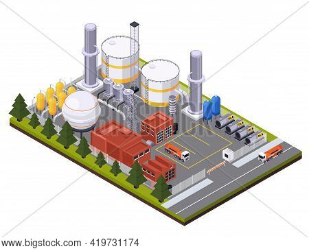 Oil Petroleum Industry Isometric Composition With View Of Factory Area With Cisterns Trucks And Oil