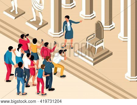 Excursion Isometric Background With Guide Telling Group Of Tourists About Ancient Landmark Vector Il