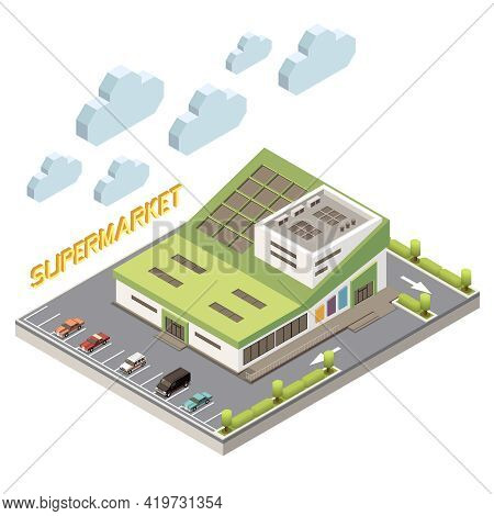 Shopping Mall Concept With Parking And Facility Symbols Isometric Vector Illustration