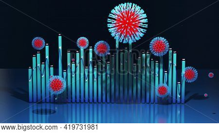 3d Render. 3d Abstract Graph Of Columns Or Bars Around Which Coronaviruses Like Covid-19 Fly. 3d Inf