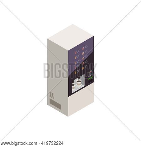 Isometric Coffee Vending Machine Interface On White Background 3d Vector Illustration