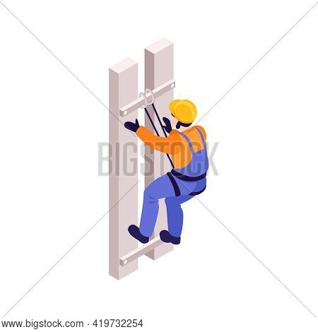 Isometric Icon Of Ironworker With Helmet And Safety Harness On White Background Vector Illustration