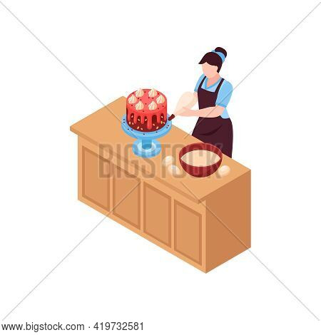 Woman Confectioner Making Cakes On Kitchen Table Isometric Vector Illustration
