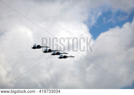 Moscow, Russia - May 7, 2021: Group Of Four Russian Military Supersonic High-altitude Interceptors S
