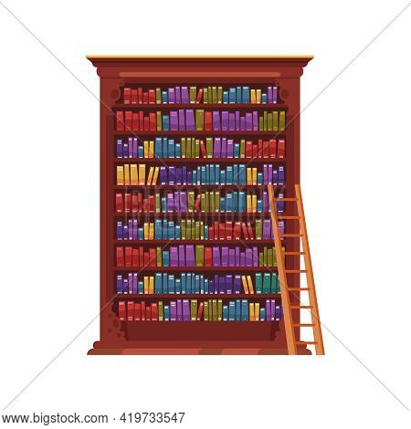 Old Library Interior Composition With Isolated Image Of Vintage Cabinet With Colorful Books Vector I