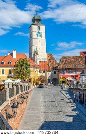 Sibiu, Romania - July 8, 2021: Council Tower Of Sibiu Situated Between The Two Main Squares, Great S