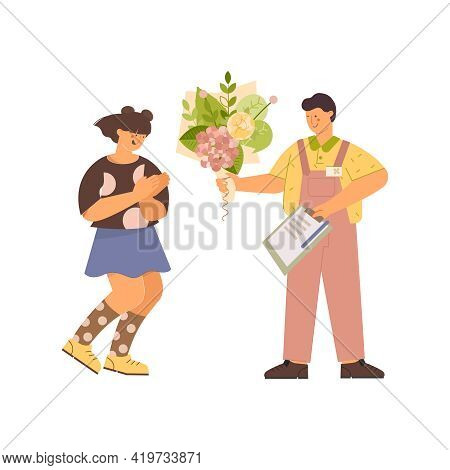 Floristics Flat Composition With Male Character Making Gift To A Girl On Blank Background Vector Ill