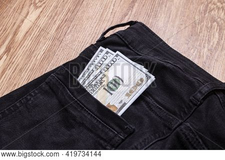 Dollars In The Back Pocket Of My Trousers Close Up