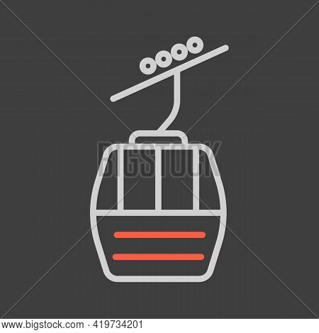 Ski Lift Gondola Flat Vector Icon On Dark Background. Graph Symbol For Travel And Tourism Web Site A