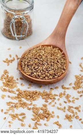 Golden Flax Seeds. Micronutrient Beneficial For The Organism That Prevents And Cures Ailments. Rich