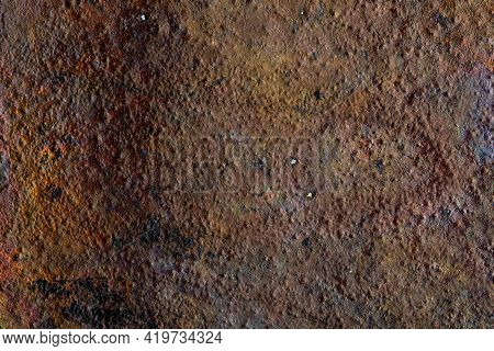 Beautiful Natural And Rustic Clay Background (series Of Copper Oxide Textures On Ceramic). Ocher, Ea