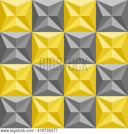 Yellow Gray Checkered Pattern. 3d Shapes, Triangles, Squares Seamless Abstract Background. Color Tre
