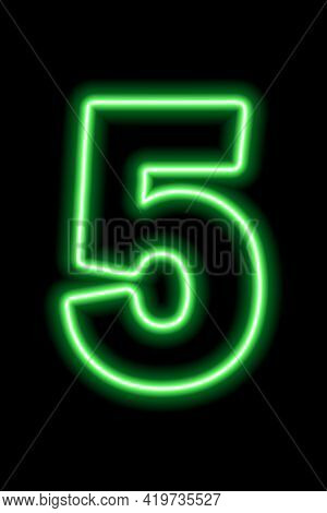 Neon Green Number 5 On Black Background. Learning Numbers, Serial Number, Price, Place. Vector Illus