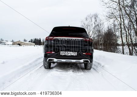 Moscow, Russia - February 23, 2021 Cheryexeed Txl Suv Car Rear Side Close Up View. Black Awd Suv On