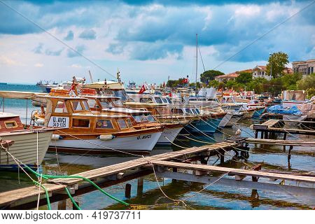 Boat Dock Parking. Lots Of Boats At The Boat Station Off The Coast. Istanbul, Turkey - 28.07.2017