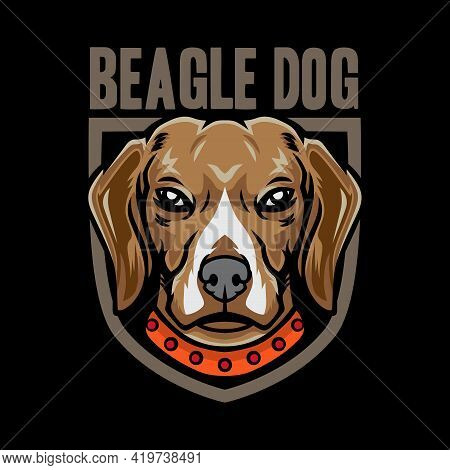 Cool Beagle Dog Emblem Logo Vector Icon Illustration. Isolated On Black Background. Suitable For Pos