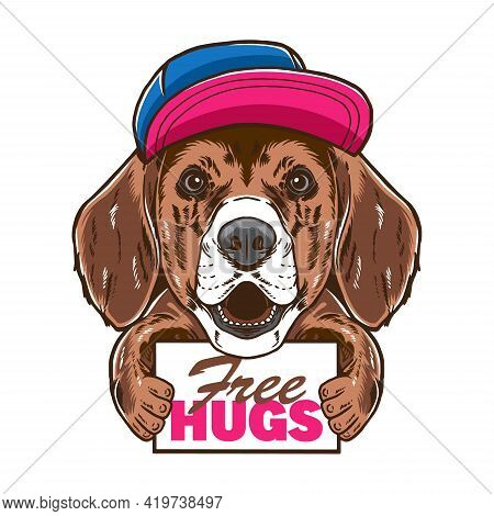 Cool Hipster Beagle Dog Pet Vector Illustration Free Hugs. Isolated On White Background. Suitable Fo