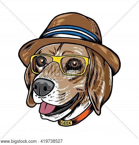 Cool Hipster Geek Beagle Dog Pet Vector Illustration. Isolated On White Background. Suitable For Pos