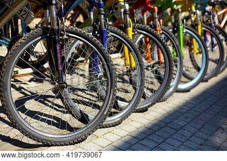Bicycle Parking In The City. Bicycles For Rent. Popular Urban Eco Transport. Istanbul, Turkey - 28.0