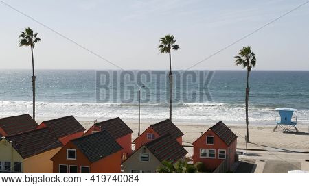 Colorful Waterfront Cottages, Oceanside California Usa. Multicolor Bungalow Huts, Summer Sea, Beachf
