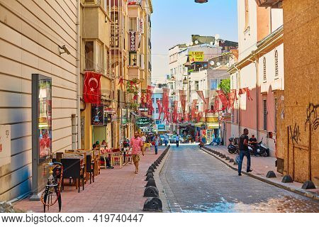 Election Political Campaign In Turkey. The Streets Of Istanbul Are Hung With The Red Flags Of Turkey
