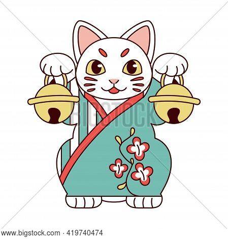 Isolated Japanese Maneki Neko Lucky Cat Vector Illustration