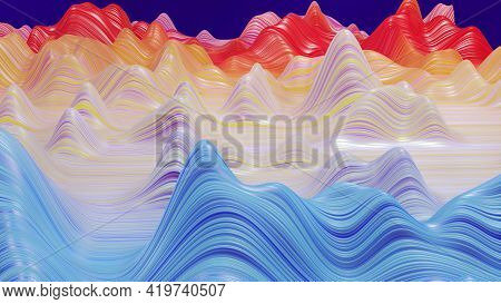 3d Render. Shining Rainbow Surface, Bright Colorful Background. Beautiful Abstract Background Of Wav
