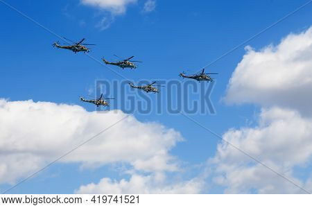 Moscow, Russia - May 7, 2021: Flying Helicopters At Rehearsal For The Victory Day Military Parade On