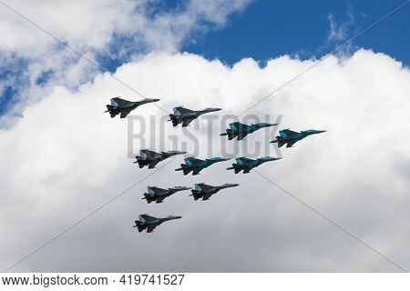 May 7, 2021, Russia, Moscow. Group Of Air Force Jet Fighters The Russian Knights Performs Demonstrat