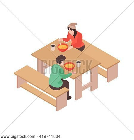 Isometric Voluneer Food Homeless Poor Composition With Human Characters Of Eating Poor People Vector