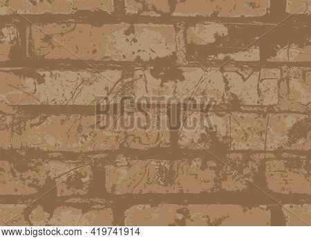 Abstract Seamless Pattern With Scuffed And Splattered Brown Brick Wall. Vector Texture In The Grunge