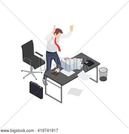Professional Burnout Depression Frustration Isometric Composition With Angry Worker And Stack Of Pap