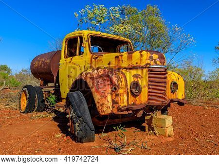 Tank Container Truck Of Battery Hill Mining Center, Tennant Creek In Northern Territory, Central Aus