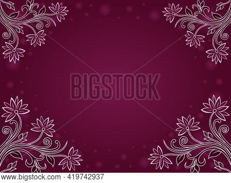 Colorful Decorative Flowers On A Dark Magenta Background, Beautiful Greeting Card