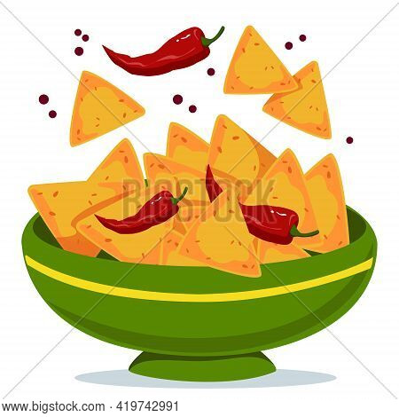 Nachos In A Bowl With Hot Peppers. Green Plate With Mexican Traditional Dish. Vector Illustration In