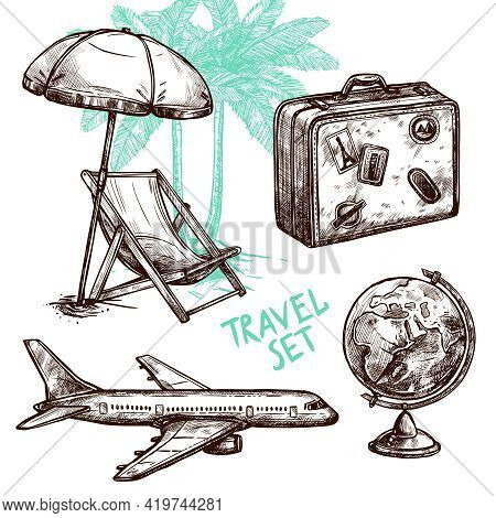 Travel Symbol Suitcase Globe Plane And Sunbed Under Palm Sketch Decorative Icon Set Isolated Vector