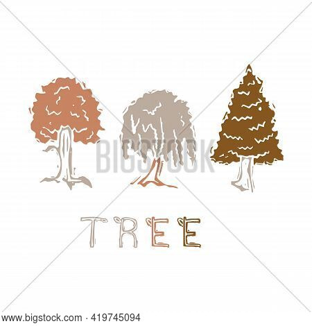 Naive Carved Tree Block Print Motif Icon . Cute Rustic Silhouette Illustration Text Clipart. Decorat