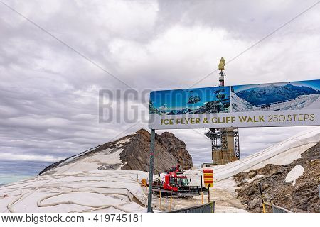 Titlis, Engelberg, Switzerland - Aug 27, 2020: Station Of Ice-flyer Chair Lift Of Titlis Mountain Pe