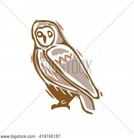 Naive Carved Owl Block Print Motif Icon. Cute Rustic Folk Silhouette Illustration Clipart. Decorativ